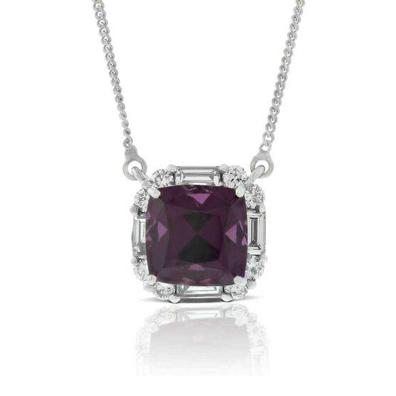 Purple Garnet & Diamond Necklace 14K