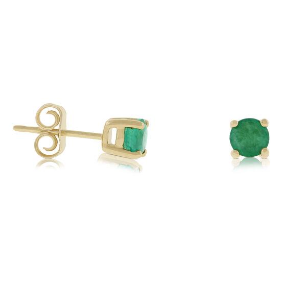 Emerald Stud Earrings 14K