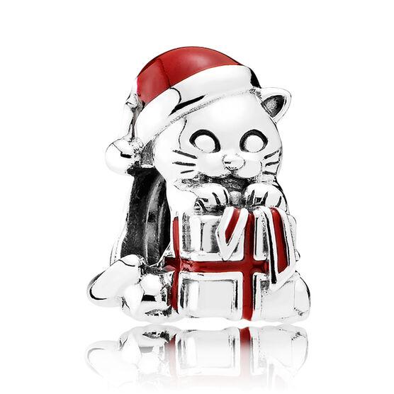 PANDORA Christmas Kitten Charm, Berry Red Enamel