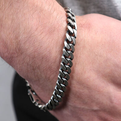 Flat Curb Bracelet in Sterling Silver