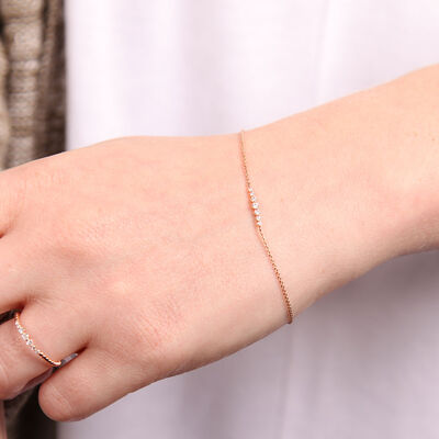 Rose Gold Diamond Station Bracelet 14K