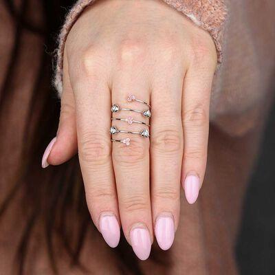 Pink Sapphire & Diamond Coil Wrap Ring 14K