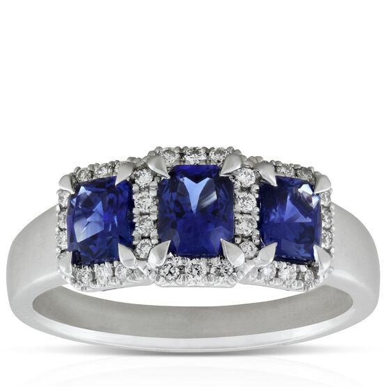 Sapphire & Diamond 3-Stone Ring 14K