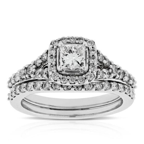 Princess Cut Diamond Halo Wedding Set 14K