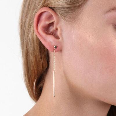 Toscano Mother of Pearl Bar Dangle Earrings 14K