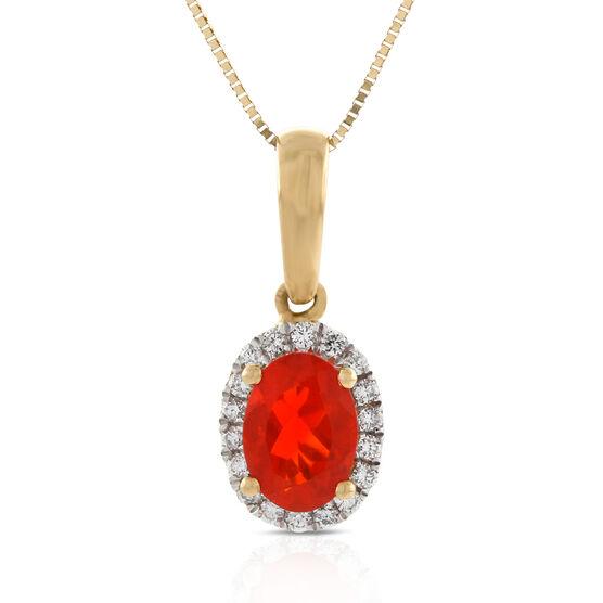 Fire Opal & Diamond Pendant 14K