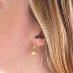 Cultured Golden South Sea Pearl & Diamond Earrings 9mm, 18K