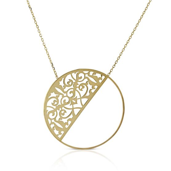 Half Circle Filigree Necklace 14K