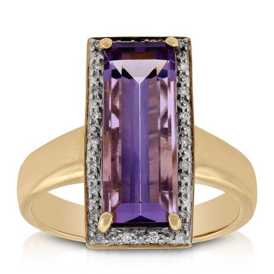 Baguette Cut Amethyst & Diamond Ring 14K