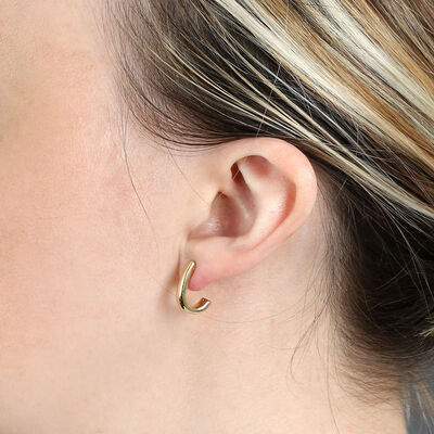 "Small ""J"" Hoop Earrings 14K"