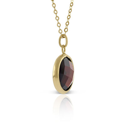 Round Bezel Set Garnet Necklace 14K