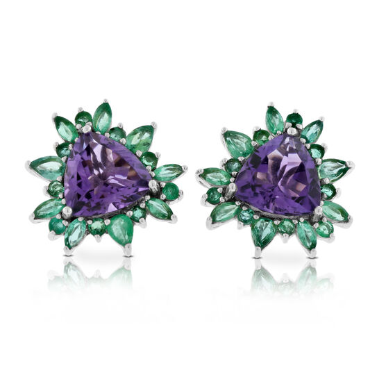 Lisa Bridge Amethyst & Emerald Earrings