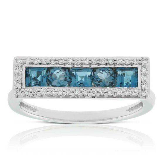 Blue Topaz & Diamond Rectangle Ring 14K