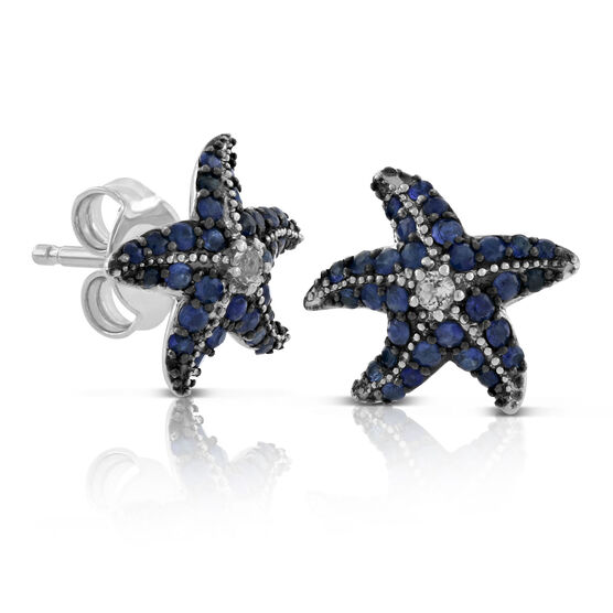Lisa Bridge Sapphire & White Topaz Starfish Earrings