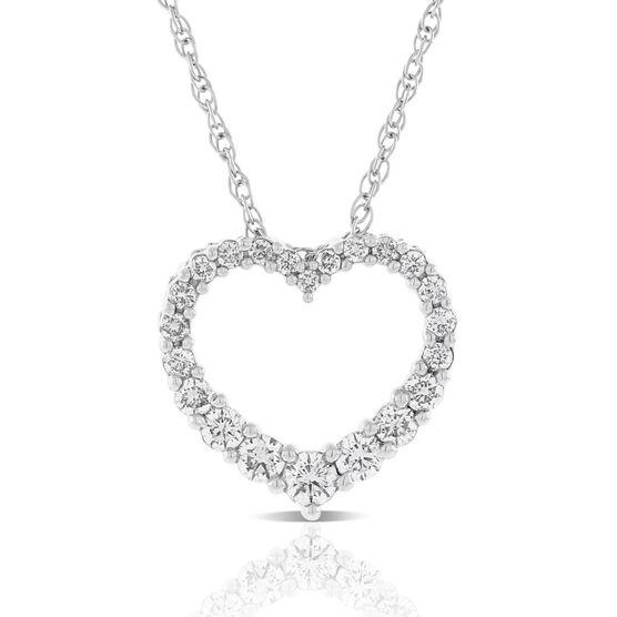 Graduated Size  Diamond Heart Necklace 14K