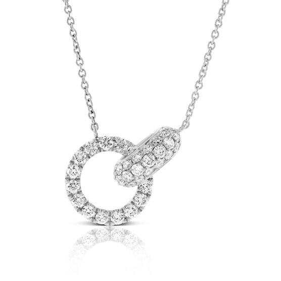 Pavé Circle Link Diamond Necklace 14K