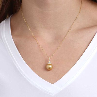 Golden South Sea Pearl & Diamond Necklace 14K