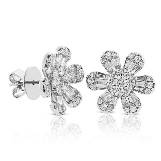 Six Petal Diamond Flower Earrings 14K