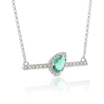 Slanted Pear-Shaped Emerald & Diamond Bar Necklace 14K