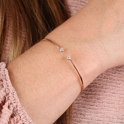 Rose & White Gold Open Flex Diamond Bracelet 18K