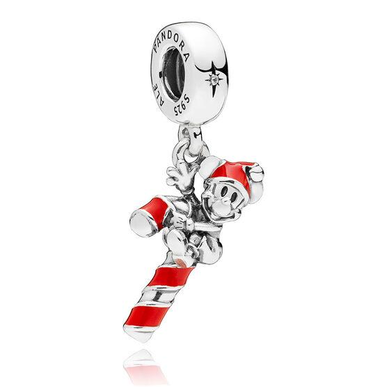PANDORA Disney, Santa Mickey's Candy Cane Enamel & CZ Dangle Charm
