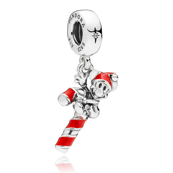 PANDORA Disney, Santa Mickey's Candy Cane Enamel & CZ Dangle Charm
