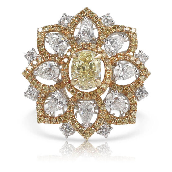 Yellow & White Diamond Two-Tone Flower Ring 18K