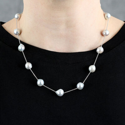 Gray Cultured Akoya Pearl Tin Cup Necklace 14K