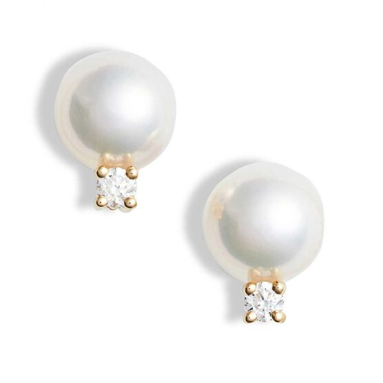 Mikimoto Akoya Cultured Pearl & Diamond Earrings 6mm, A+, 18K