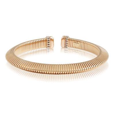 Toscano Two-Tone Triangular Tube Tubogas Cuff Bracelet 14K
