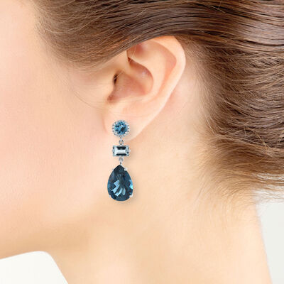 Mixed Color Blue Topaz Earrings 14K