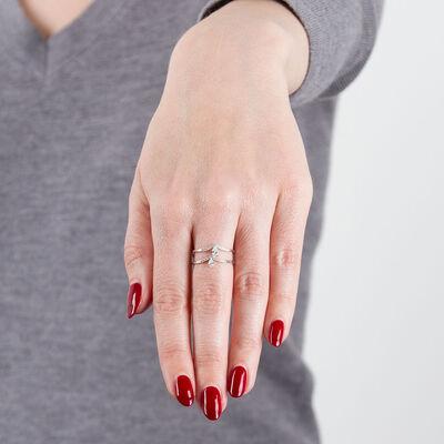Two-Row Offset Diamond Chevron Ring 14K