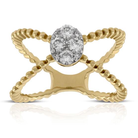 Criss Cross Diamond Ring 14K