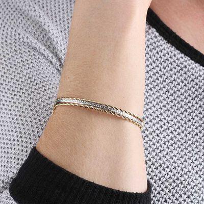 Twist Two-Tone Bangle Bracelet 14K