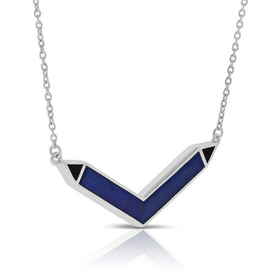 Lisa Bridge Lapis Lazuli & Onyx Chevron Necklace