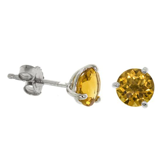 Checkered Citrine Earrings 14K, 6mm