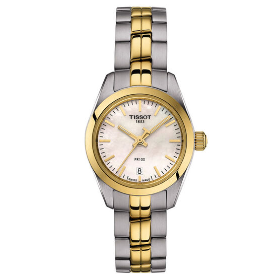 Tissot PR 100 Lady Small Gold PVD Silver Dial Watch, 25mm