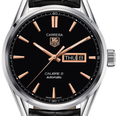 TAG Heuer Carrera Calibre 5 Day Date Automatic Mens Black Alligator Watch
