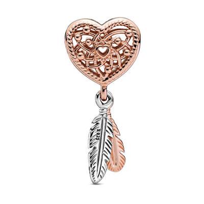 Pandora Rose™ Openwork Heart & Two Feathers Dreamcatcher Charm
