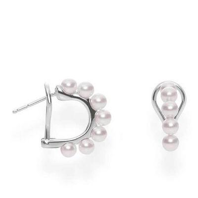 Mikimoto Akoya Cultured Pearl Huggie Hoop Earrings 18K