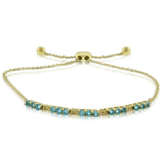 Blue Topaz Bolo Bracelet 14K
