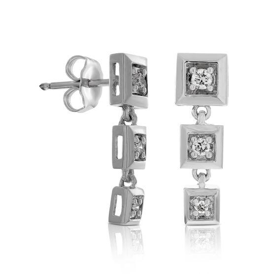 Diamond Square Drop Earrings in Sterling Silver