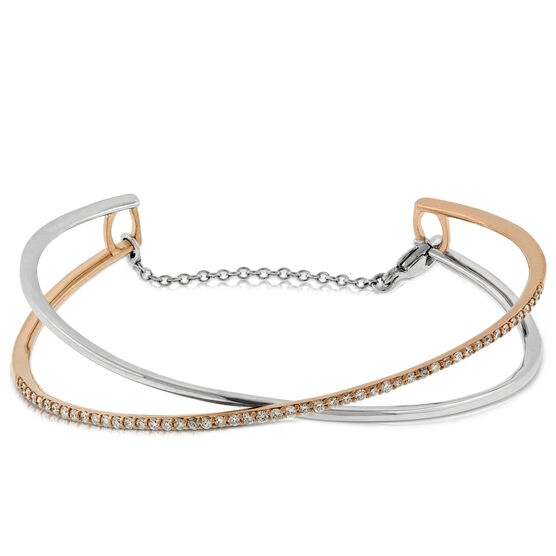 Crossover Diamond Bangle 14K