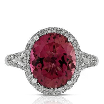 Pink Tourmaline & Diamond Ring 14K