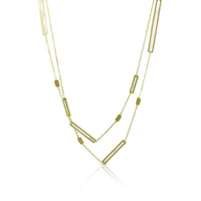 """Toscano Mother of Pearl Bar Station Necklace 14K, 32"""""""