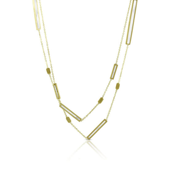 Toscano Mother of Pearl Bar Station Necklace 14K, 32""