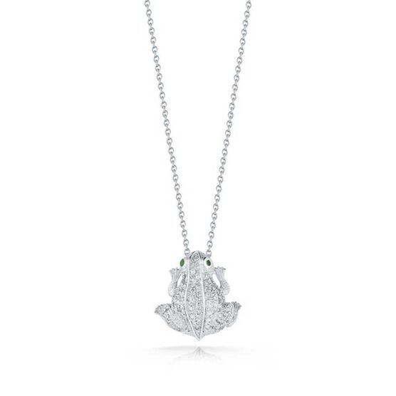 Roberto Coin Tiny Treasures Tsavorite & Diamond Frog Necklace 18K