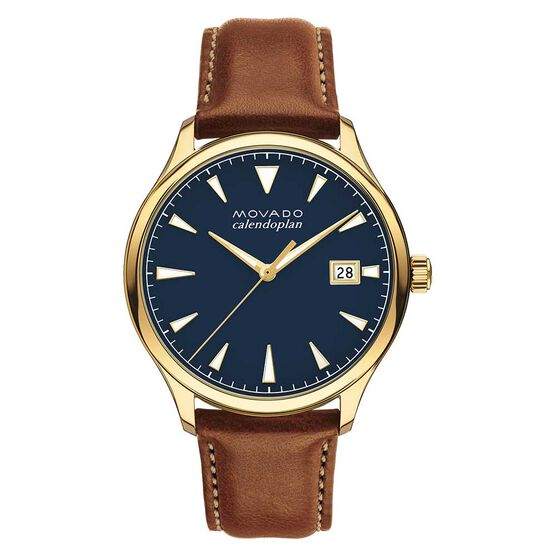 Movado Heritage Series Calendoplan Yellow Ion Watch, 40mm