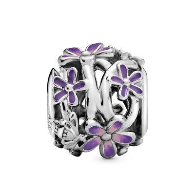 Pandora Openwork Purple Daisy Enamel Charm