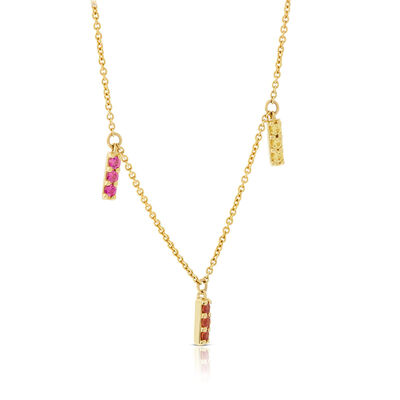 Rainbow Sapphire & Tsavorite Garnet Dangle Bar Necklace 14K